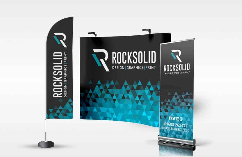 Rock Solid Graphics - Outstanding flags, exterior banners, pull up banners, exhibition graphics,